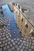 Reflection of old buildings, Novara — Stock Photo
