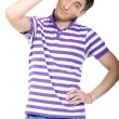 Fashion shot of an elegant young man wearing shirt — Stock Photo