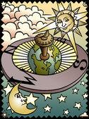Celestial Sundial — Stock Vector