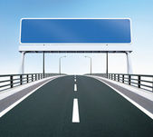 Bridge highway with blank sign — Stock Photo