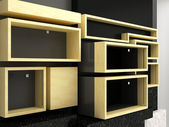 Display shelves wall — Stock Photo