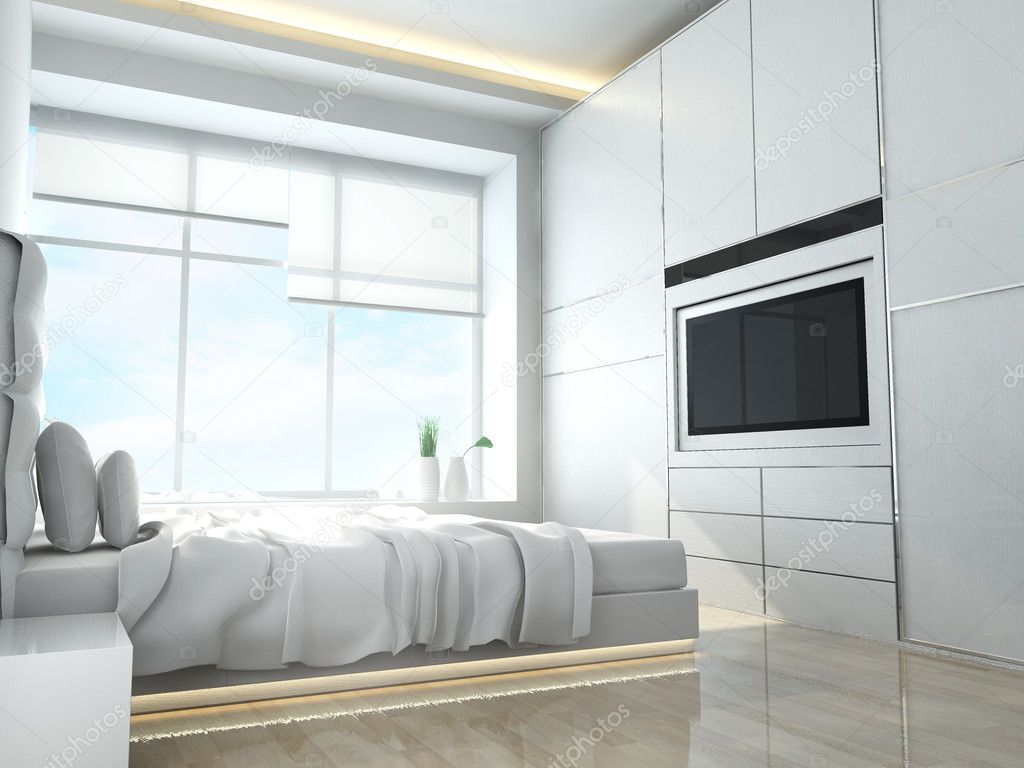 Modern bedroom of residences or hotels in minimalist style — Stock Photo #9621395
