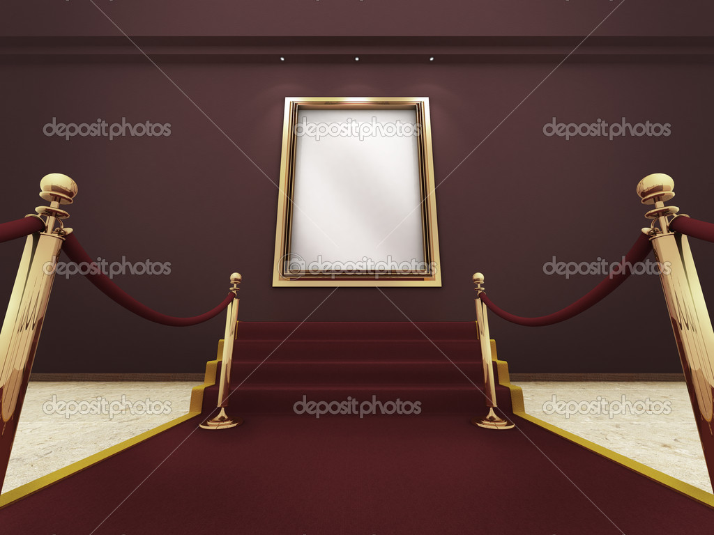 Red carpet leading up to the stairs to a golden picture frame on a wall. (A clipping path for the white content area is included for placing your own content.)  — Stock Photo #9625561