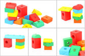 Set of wooden toy bricks — Stock Photo