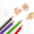 Paper with pencils — Stock Photo