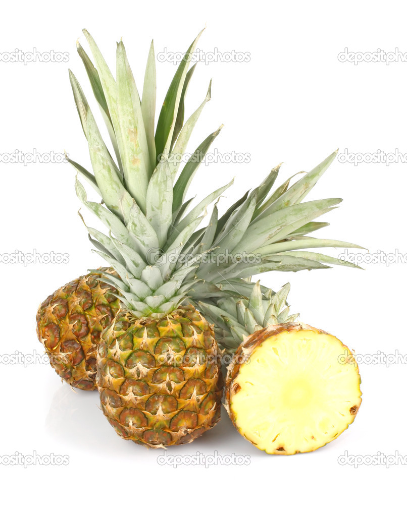 Ripe fresh pineapple fruit whole and slices, isolated on white background — Stock Photo #9456469