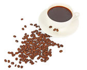 Coffee cup & beans — Stock Photo