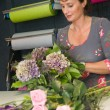 Florist working in a store - Stock Photo