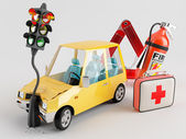 Car and Emergency Kit — Stock Photo