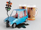 Cars and Alcohol — Stock Photo