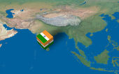 Location of India over the map — Stock Photo
