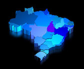 Three dimensional map of Brazil with states — Stock Photo