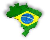 Carte à trois dimensions du brésil avec les états — Photo