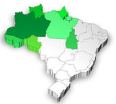 Map of Brazil with north west region — Stock Photo