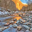 Mountain river in Alps - Stock Photo