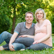 Pregnant couple in the park — Stock Photo #8881765