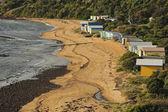 Swim cabins on beach — Stock Photo