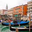 Venezia, Italy - Gondolas on Grand Canal and San Marco bell tower — Stock Photo