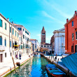 Venice, Italy - canal, boats and houses - Stock Photo