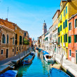 Venice, Italy - canal, boats and houses — Stock Photo