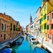 Venice, Italy - canal, boats and houses — Stock Photo #10405770