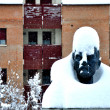 Stock Photo: Lenin Statue in Cavriago Italy during snow storm
