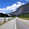Stock Photo: Icefields Parkway between CanadiRocky Mountains