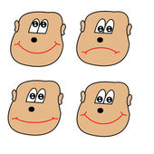 Four faces in different poses — Stock Photo