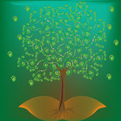 Abstract tree with green background — Stock Photo