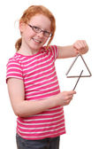 Girl with triangle — Stock Photo