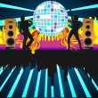 Stock Vector: Party with dancing peoples