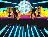 Partij met dansen volkeren — Stockvector