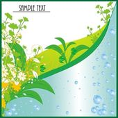 The set of bubbles was generated from water and decorated with green leaves — Stock Vector