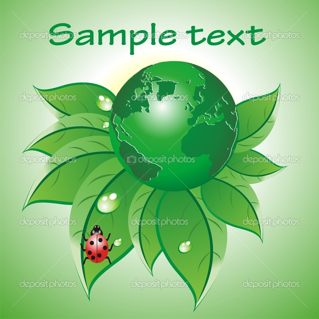 Abstract colorful green glossy globe leaf Vector — Stock Vector #8557979