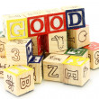 Stock Photo: Wooden cubes made word good