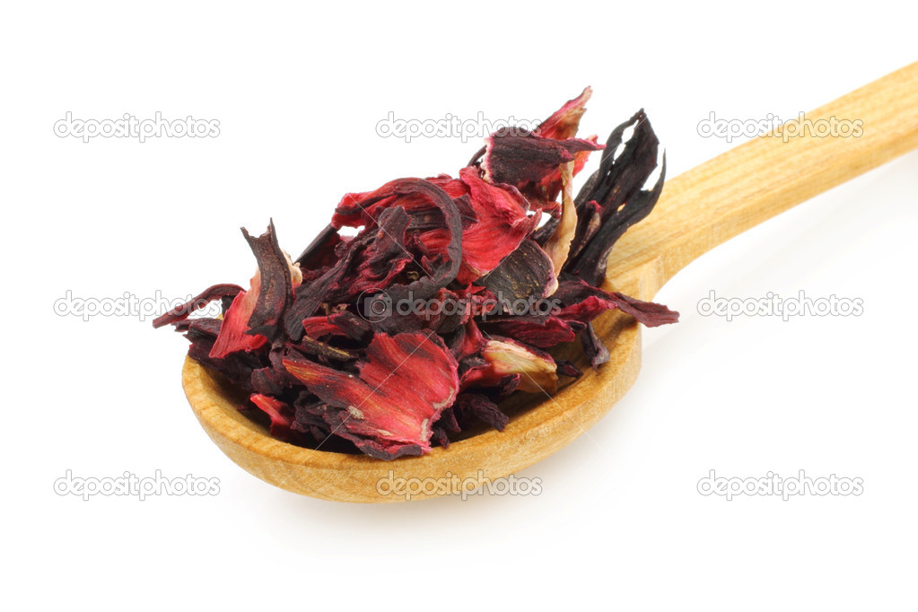 Wooden spoon with Sudanese rose close-up on a white background — Stock Photo #8240005