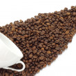White cup and coffee beans — Stock Photo #8258061