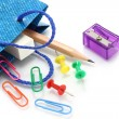 Stationery items poured out from shopping bag - Stockfoto