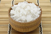 Sea salt in a wooden tableware — Stock Photo