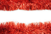 Red tinsel frame close-up — Stock Photo
