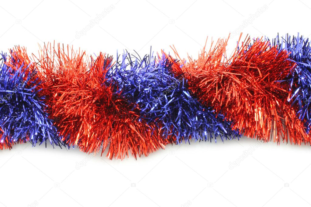 Red and blue tinsel line on white background  Stock Photo #8267997