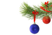 Branch of fir and Christmas balls — Stock Photo