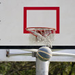 Basketball board and basketball ball — Stock Photo