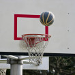 Basketball board and basketball ball — Stock Photo #10039892