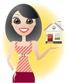 Cartoon pretty young brunette woman presents a house — Stock Vector