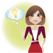 Pretty business woman presents her idea — Stock Vector