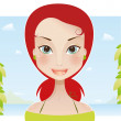 Beauty redhead girl on summer vacation — Stock Vector