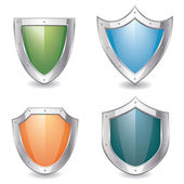 Glossy empty shield emblems — Stock Vector