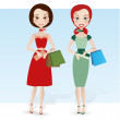 Two pretty girlfriends with shopping bags — Stok Vektör