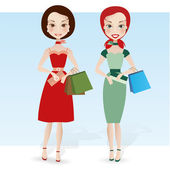 Two pretty girlfriends with shopping bags — Stock Vector